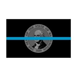 Washington WA State Flag Thin Blue Line Police Sticker / Decal #286 Made in USA