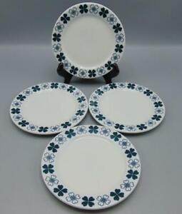 Blue Circular Leaf Pattern Unmarked Set of 2 Vintage MCM Plate 7 Salad Plate Graphic Green