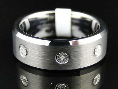Mens Tungsten Carbide Diamond Wedding Band Engagement Ring 8mm SZ 8.5-12.5