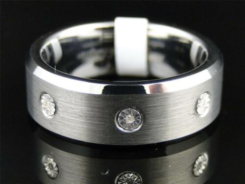 Mens Tungsten Carbide Diamond Wedding Band Engagement Ring 8mm SZ 8.512.5