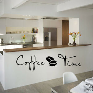 Details About Coffee Time Kitchen Room Wall Decals Sticker Cafe Vinyl Art Home Decor 1 Sheet
