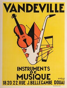 Original-Vintage-Jazz-Poster-Musical-Instruments-Violin-Saxophone-1950