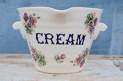 Rare Antique Ceramic CREAM Milk Pail Dairy Floral Milking Crock Display Pot