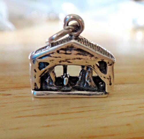 Sterling Silver 3D 14x14x5mm Nativité Crèche Mary Joseph Jésus Noël charme