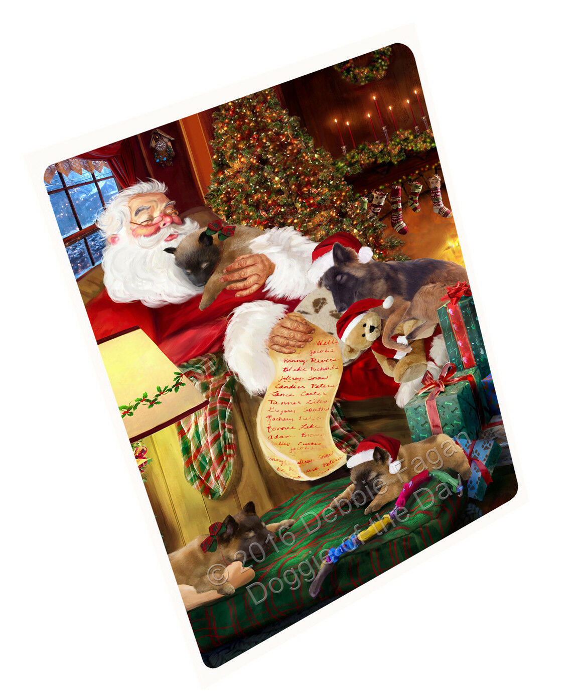 Belgian Tervuren Dog Sleeping with Santa Woven Throw Sherpa Fleece Blanket NWT
