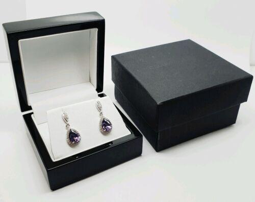 Oro Blanco Acabado pearcut Amatista y creado diamante colgantes pendientes gancho