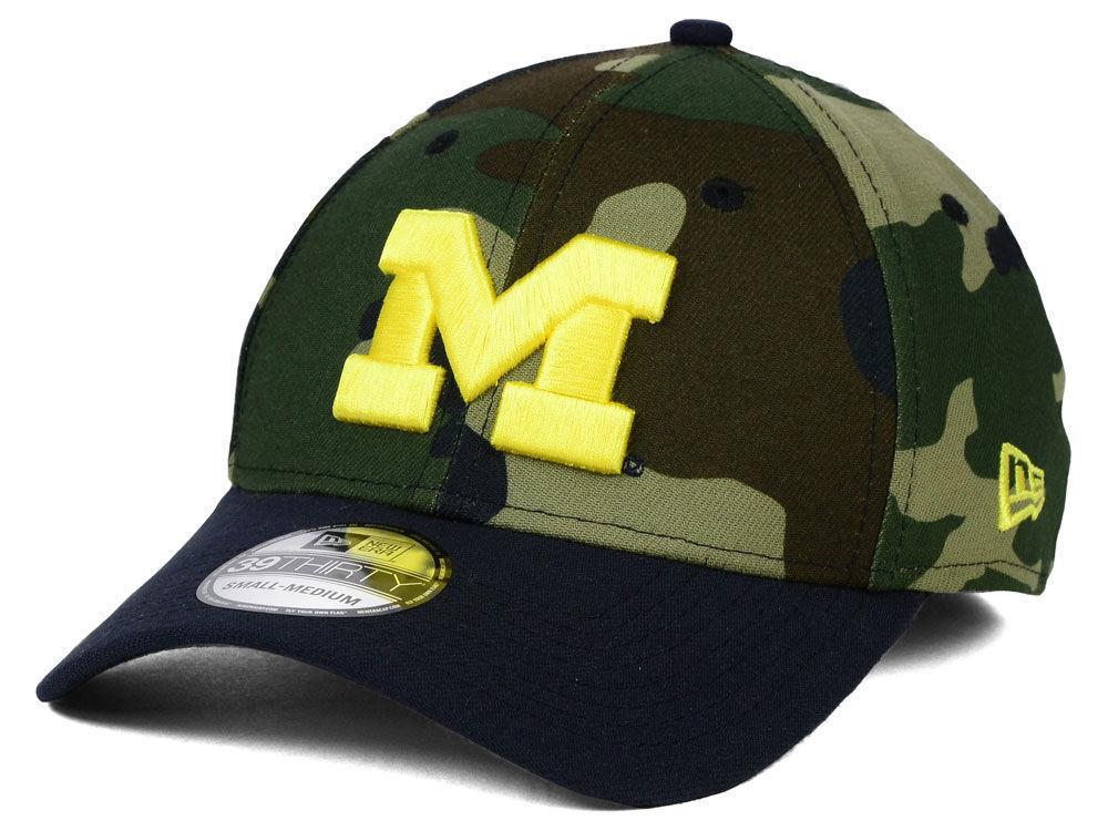 Michigan Wolverines Men's New Camo Era 39THIRTY NCAA Woodland Camo New Flex Fit Hat Cap 0f23ce