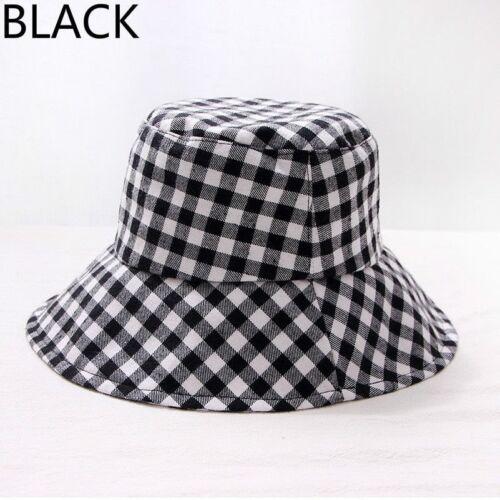 Men Lady Bucket Hat Caps Plaid Check Sun Fashion Fishing Beach Wide Brim Outdoor