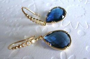 4-06Ct-Pear-Cut-Blue-Sapphire-amp-Diamond-Earring-18K-Yellow-Gold-Over-Drop-Dangle