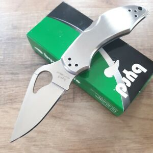 Spyderco-Byrd-Folding-Knife-Robin-2-Plain-8Cr13MoV-Blade-Stainless-Steel-Handle