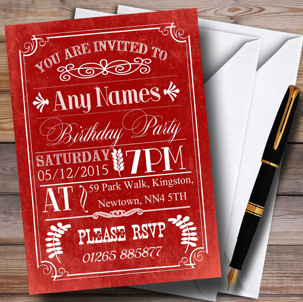 Vintage Retro rot Personalised Birthday Party Invitations