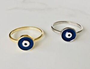 925 Sterling Silver / 18K Gold Evil Eye Ring Blue Mati Nazar Size US 5 6 7 89 10