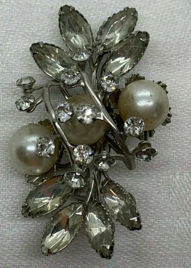 Marquise Diamond Rhinestone Synthetic Pearl Silve… - image 3