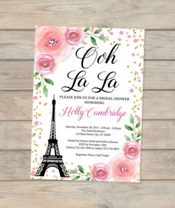 Paris bridal shower invitation eiffel tower french bridal shower image is loading paris bridal shower invitation eiffel tower french bridal filmwisefo