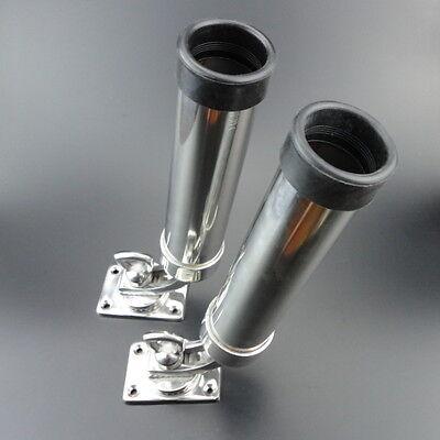 2pcs Stainless Steel Deck-Mount Adjustable Removable Fishing Rod Holder