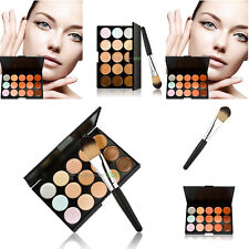 15Colors Contour Face Cream Makeup Concealer Palette Foundation Powder Brush Set