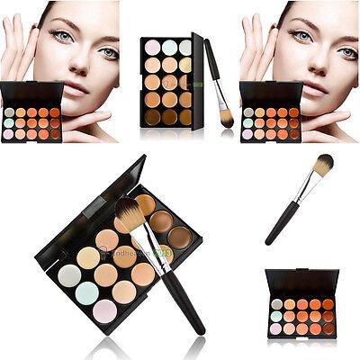 15Colors Contour Face Cream Makeup Concealer Palette Foundation Powder Brush Kit