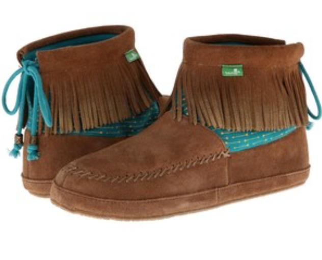 NIB Sanuk Honey Bee Chestnut FRINGE Ankle Bootie Boots Womens 6 M