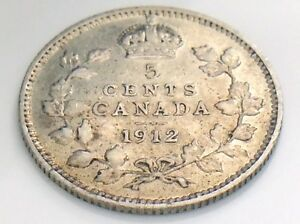 1912-Canada-Small-Five-5-Cent-Silver-Circulated-Canadian-George-V-Coin-I460
