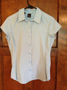 REI-8-neuf-sans-Original-balises-Femme-Randonnee-bleu-clair-a-manches-courtes-shirt