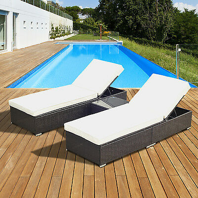 Outsunny 3pc Rattan Sun Lounger Table Wicker Patio Reclining Garden Chair Bed