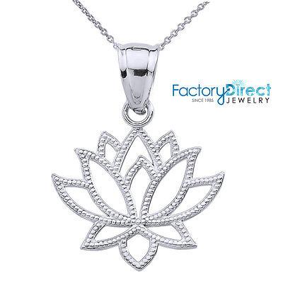 14k White Gold Lotus Flower Pendant Necklace