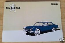 Peugeot 504 Conduite Entretien Brochure Sept. 1972 état neuf
