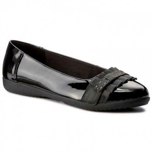 Clarks Femmes Feya Island Black Patent Leather Stitch-volants Détaillant Ballerine