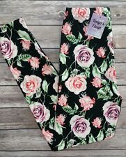 Purple Pink Rose Leggings Nature Flowers Leaves Print One Size OS