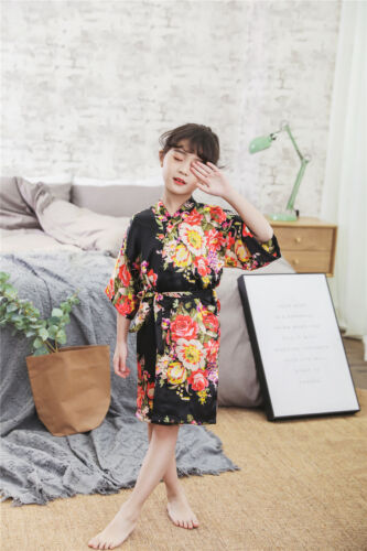 2019 Hot Kids Robe Flower Girl Robe Floral Silk Satin Robe Gift Baby Shower Gift