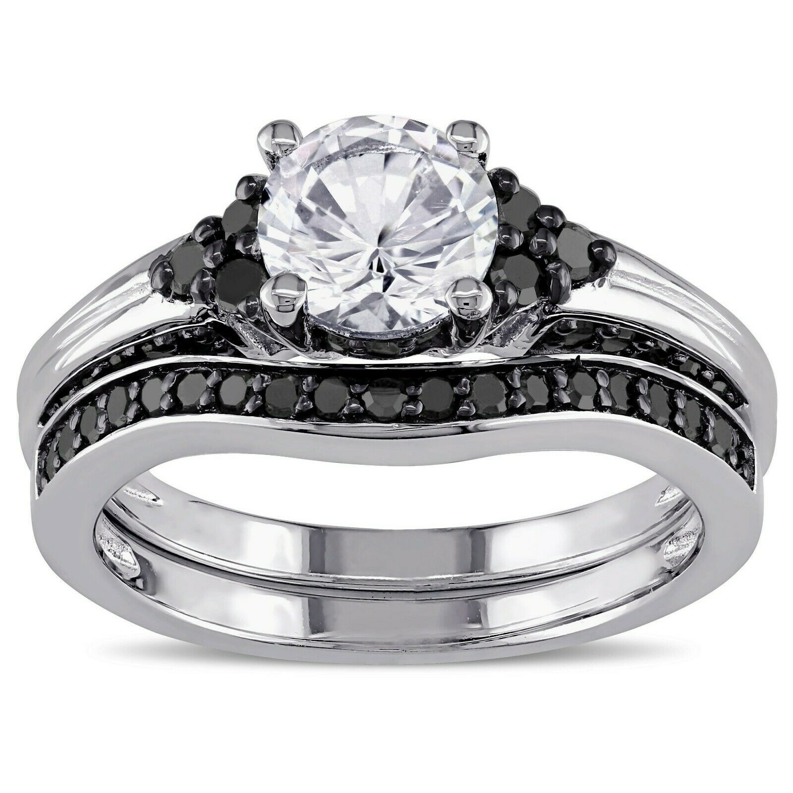 Engagement Bridal Ring Set 1.20 Ct Round Cut Diamond With 14K White gold Over