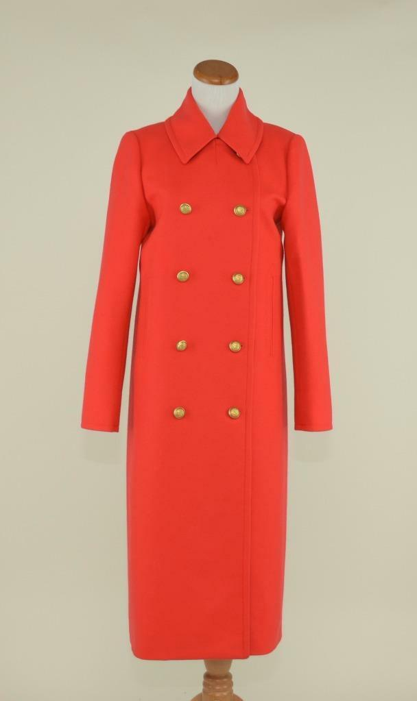 J.CREW  WOOL CASHMERE DOUBLE-BREASTED LONG TOPCOAT COAT 0 RED gold BUTTONS