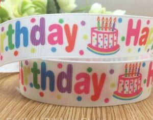 "birthday cup cake SESAME STREET character Grosgrain RIBBON 1m x 25mm width 1/"""