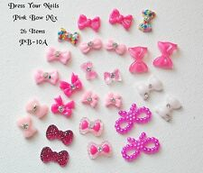 3d Nail Art mixed PINK +  BOWS Glittered, Gel, Bowknot Bling Decoration  #PB-10