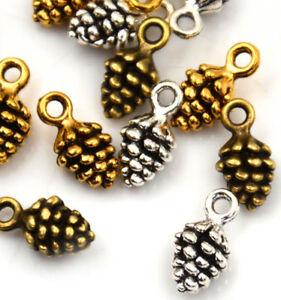 20-100Pcs-Charms-pine-cone-14mm-Antique-alloy-pendant-Vintage-Tibet-Silver-Gold