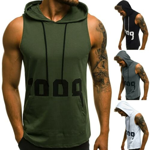 Men/'s Fitness Muscle Letter Print Pocket Sleeveless Hooded Tight-drying Tank Top