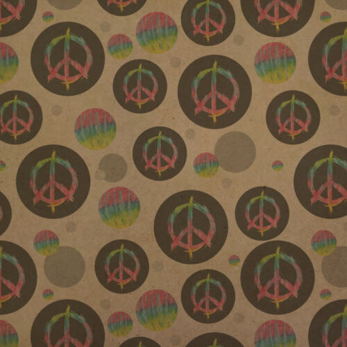 Tie Dye Peace Sign Premium Kraft Gift Wrap Wrapping Paper Roll