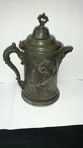 Vintage-Sheffield-Plate-Silver-1016-Tea-Coffee-Pot-Ornate-Rose