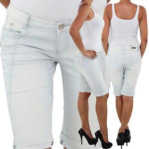 Damen-Stretch-Capri-Kurze-3-4-Jeans-Hose-Shorts-Bemuda-Hueft-Sommer-Blau