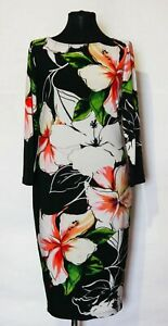 Joseph-Ribkoff-Multi-Colour-Trendy-Floral-Stretchy-Dress-Size-UK-12-US-10