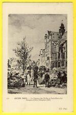 cpa Superbe Gravure Ancien PARIS Le CARREAU des HALLES et St EUSTACHE en 1867