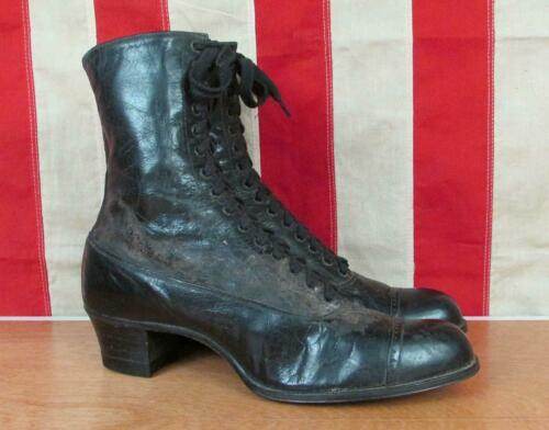 Vintage 1920s Victorian Womens Boots Black Leather