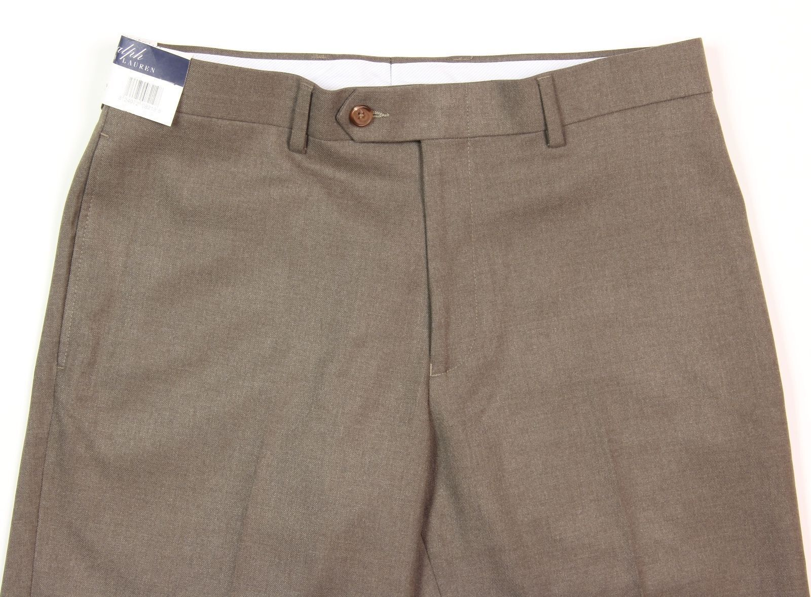 Men's RALPH LAUREN Light Brown Flat Front Dress Pants 30x30 NWT NEW Comfort Flex