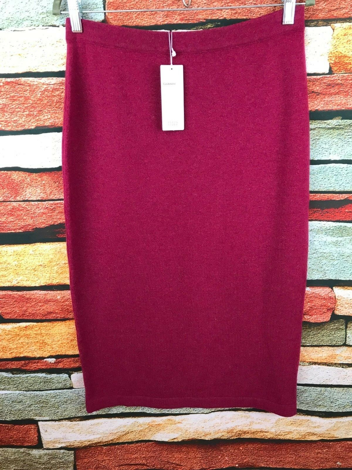 NWT EILEEN FISHER HIBISCUS RED FINE GAUGE CASHMERE CALF LENGTH SKIRT XL