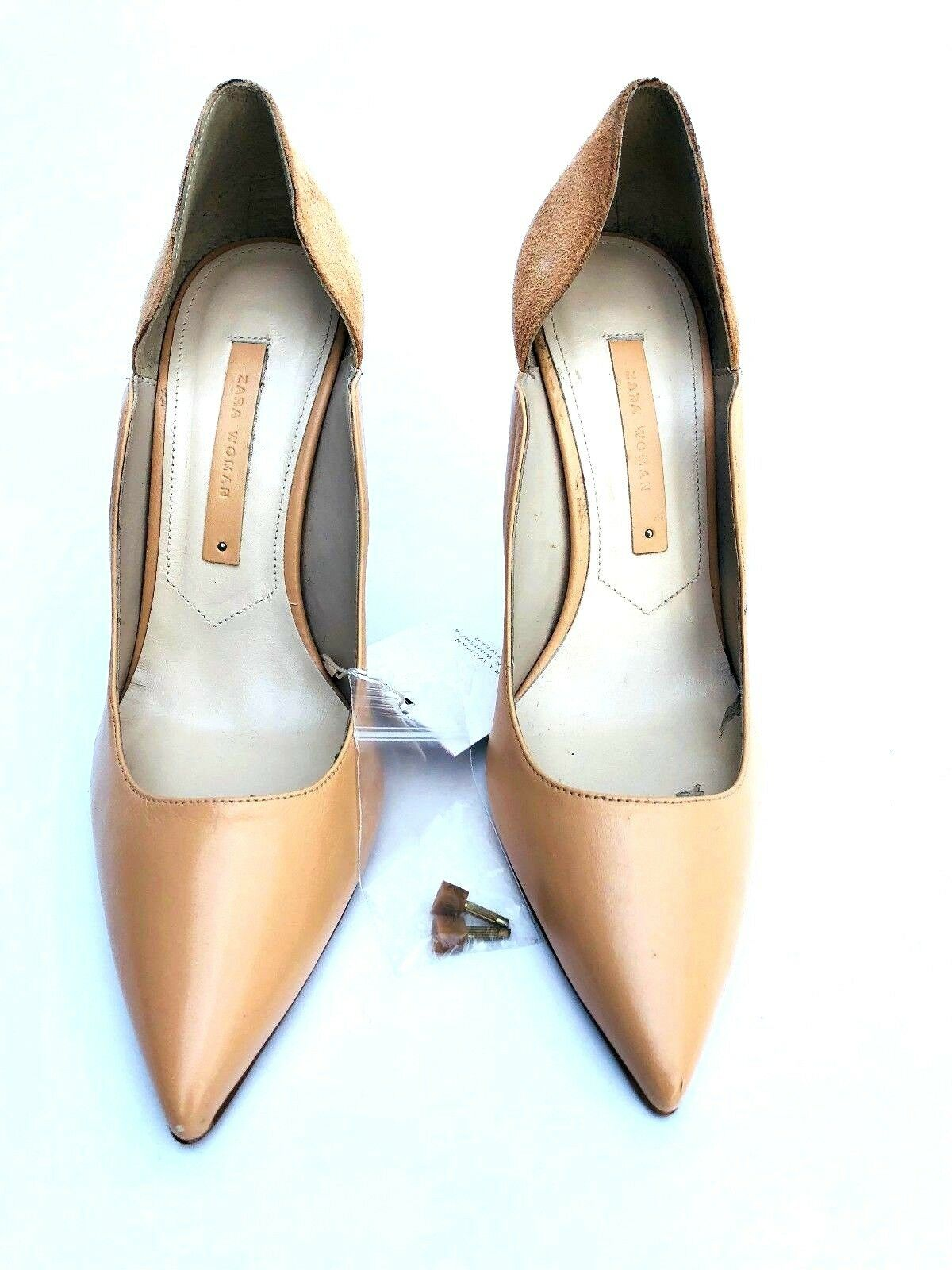 ZARA LEATHER NUDE COURT COURT COURT SHOES SIZE UK4 EUR37 US6.5 REF 5207 301 59efd3