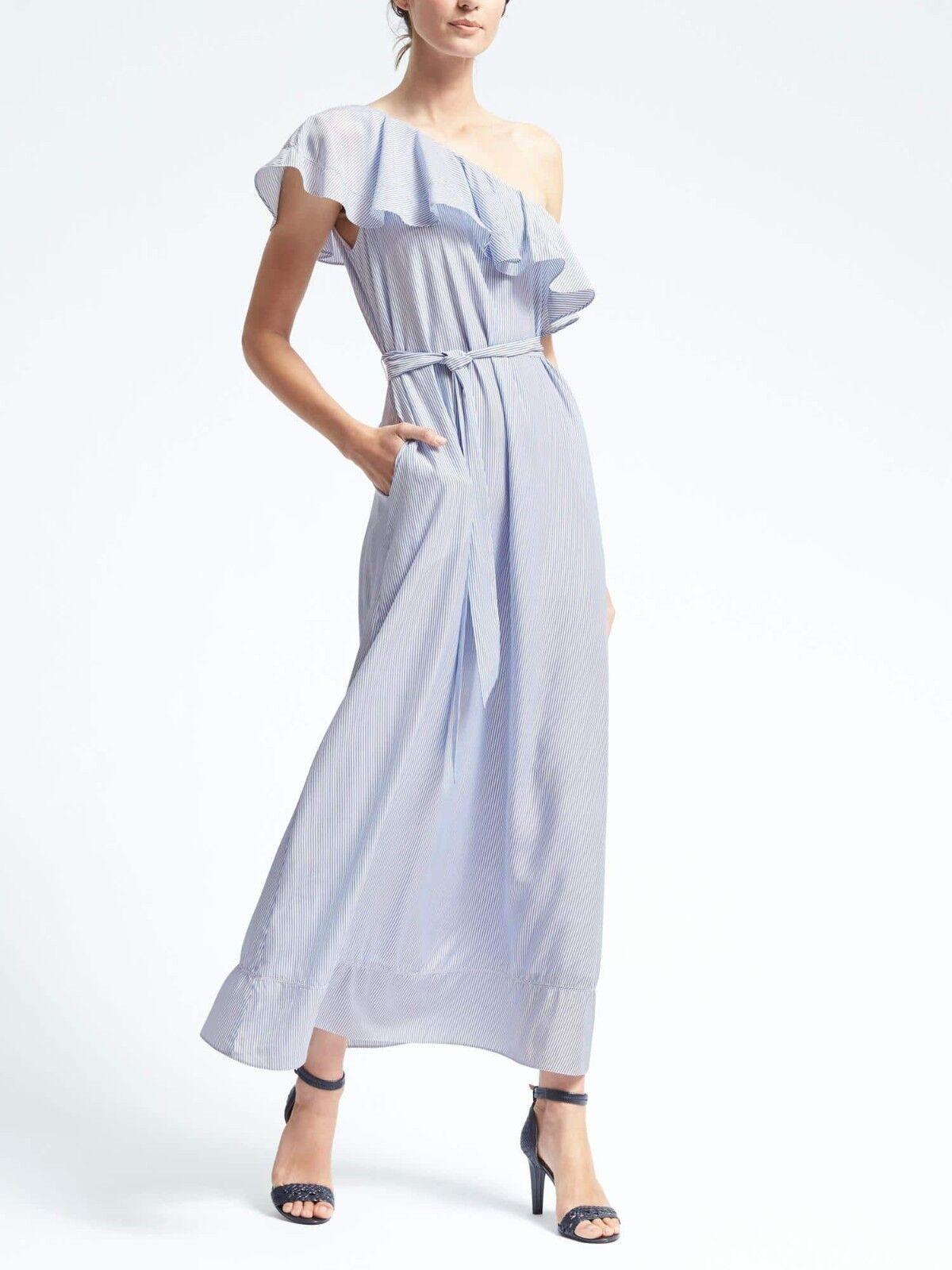 Banana Republic Stripe One-Shoulder Maxi Dress, Weiß Blau Größe SP S P