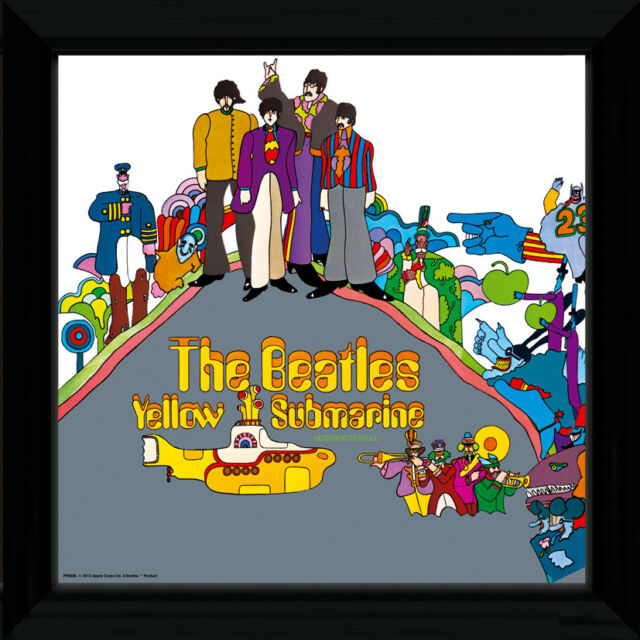 The Beatles Yellow Submarine 1 Rock Framed Album Cover Vinyl Poster 30.5x30.5cm Kunstplakate Antiquitäten & Kunst