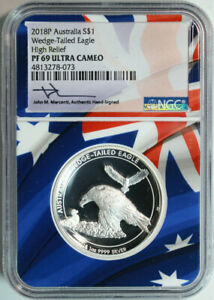 2018-P-1-Australia-Proof-Wedge-Tailed-Eagle-High-Relief-NGC-MS69-UC-Mercanti