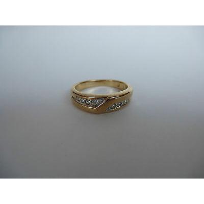 Pierre Lang PL Modeschmuck, glanzvoller goldfarbener Ring mit Steinchen Gr.6