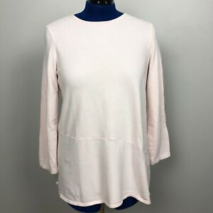 J-Jill-Pure-Women-Size-L-Top-Pink-Soft-Touch-Cotton-Asymmetric-Hem-Long-Sleeve